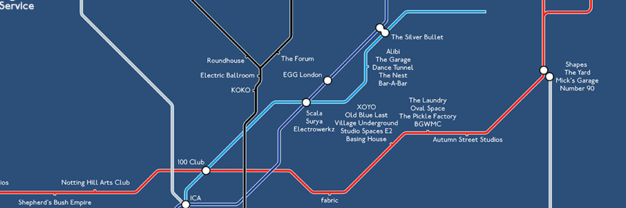 Night tube party map